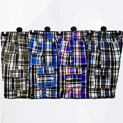 Boys Checked Cotton Blend Shorts Multipocket Length Combat Kids Age 3-14 Years • 4.99£
