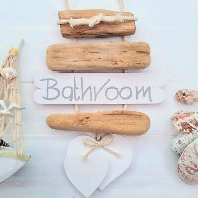 SHABBY DRIFTWOOD CHIC BATHROOM WC TOILET THE LOO WICKER HEART DOOR PLAQUE SIGN/_/_