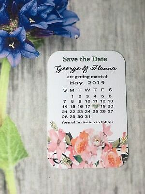 AU49.41 • Buy Personalised Wedding Save The Date Cards Magnet Envelopes Diamante  Floral FF701