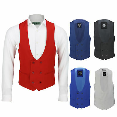 £25.99 • Buy Mens Double Breasted Low U Cut Formal Suit Waistcoat Fitted Smart Casual Vest