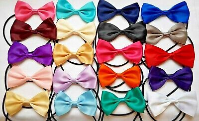 2 PACK Boys Kids Childrens Elasticated Pre Tied Satin Bow Ties Dickie Bow  • 3.25£