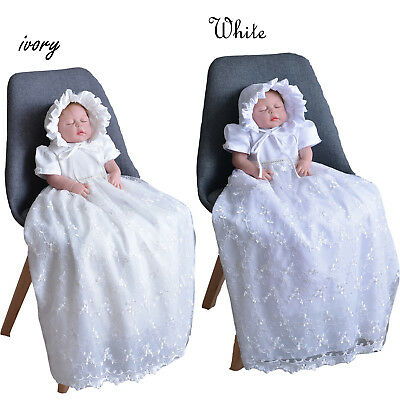 £27.99 • Buy Tradition Baby Girls Lace Long Christening Gown Bonnet 0-3 3-6 6-9 Months