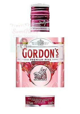Pink Gordons Gin Bottle Label Edible Icing Cake Topper Decoration • 5.99£