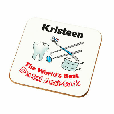 Personalised Worlds Best Dental Assistant Coaster Gift Dentist Assistant Present • 4.49£
