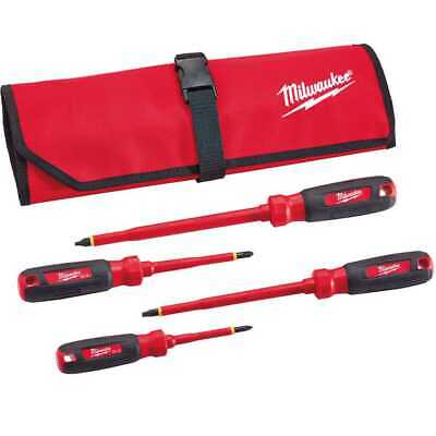 View Details Milwaukee 48-22-2204 4pc 1000V Insulated Screwdriver Set W/ Roll Pouch New • 33.99$