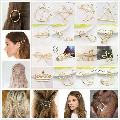 £1.95 • Buy Bridal Gold Hollow Geometric Metal Hair Clips Clamps Hairpin Barrette Slide Clip