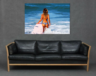 £16.99 • Buy Sexy Blonde Lady Bikini On Surf Beach Print Canvas Pin Up Picture Snap Garage