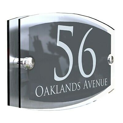 Anthracite House Sign Plaques Door Numbers Personalised Address Acrylic • 9.99£