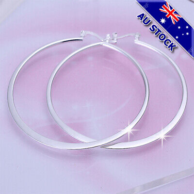 AU9.95 • Buy Classic 925 Sterling Silver Filled 55mm High Polished Big Circle Hoop Earrings