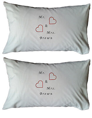 Personalised Embroidered White Cushion Cover- Gift, Present, Wedding, Hearts • 12.99£