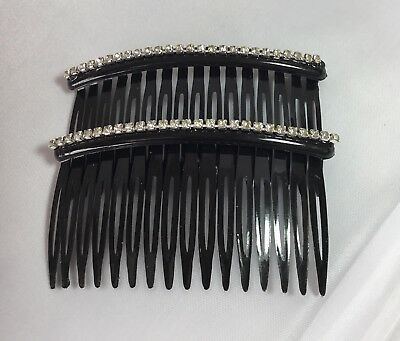 Bridal Wedding Prom Diamante Hair Grips Clips Slides Combs.BLACK.pack Of 2 • 2.50£