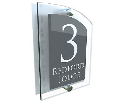 House Number Plaque Glass Effect Acrylic Sign Door Plate Name Anthracite • 9.75£