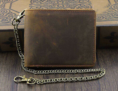 $ CDN22.81 • Buy Mens Fashion Wallet With Chain Leather Brown Biker VINTAGE Coin Card Holder Gift