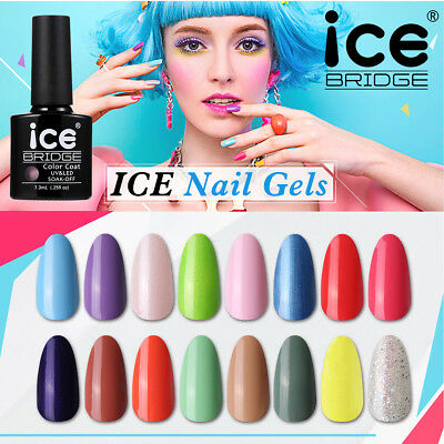 ICE NAIL GEL UV LED POLISH VARNISH SOAK OFF 7.3ml  SALON ALL NEW COLOURS • 2.99£