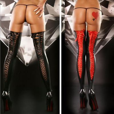 Sexy Faux Leather Womens Lace Up Back Thigh High Hosiery Stockings Ribbon AX2 • 9.99£