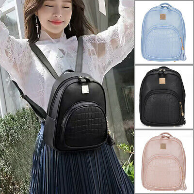 Womens PU Leather School Braided Backpack Travel Shoulder Bag Rucksack • 8.69£