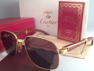 4129a29a57e Vintage Cartier Monceau Gold   Wood 53 18 Drake Brown Lenses France  Sunglasses • 2