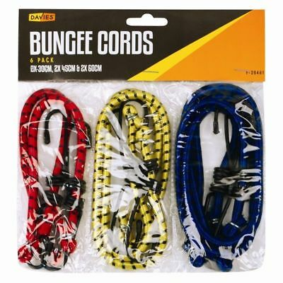 £2.99 • Buy 6 New Bungee Straps Cords Set With Hooks Elasticated Rope Cord Car Bike Luggage
