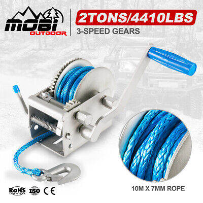 AU79.45 • Buy 3Tons Recovery Hand Winch 3-Speed 10M X 7MM Dyneema Synthetic Rope Boat 4WD 4X4