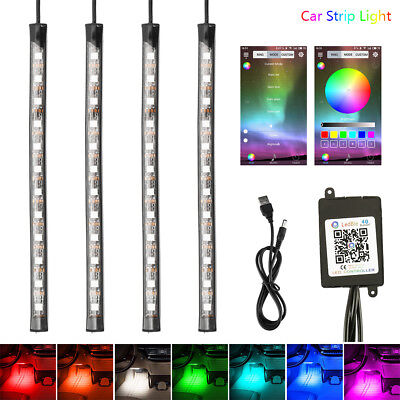 $12.99 • Buy 4Pcs USB Powered RGB 12 LED Strip Lighting For TV Computer Background Light