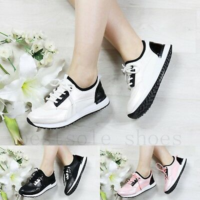 Ladies Womens Girls Flat Lace Up Plimsolls Pumps Gym Running Trainers Shoes Size • 11.99£