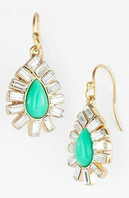 $ CDN73.73 • Buy Kate Spade New York Capri Garden Earrings Crystals GREEN GOLD Drop Dangle Hook