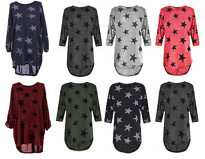 New Womens Star Print Batwing Sleeve High Low Ladies Oversized Baggy Dress Top • 9.99£