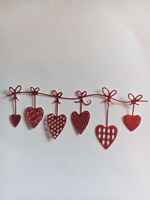 8 X Red/gold/silver,six Heart Bunting Card Toppers,birthday,wedding,anniversary • 2.50£
