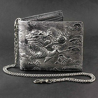 $23 • Buy Mens Dragon Vintage Silver Grey Leather Wallet Card Holder Purse With Chain
