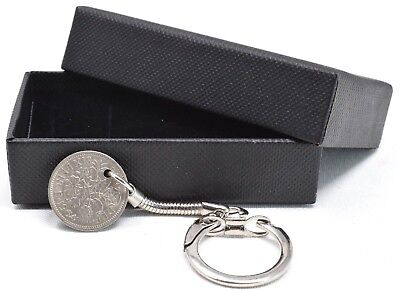 £4.99 • Buy 1920 - 1967 Sixpence Keyring Birthday Gift Lucky Choose Date Gift Boxed [d]