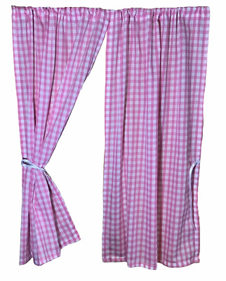 £9.95 • Buy Girls Playhouse Curtains ~ Traditional Pink Gingham ~ Summer/wendy Accessories