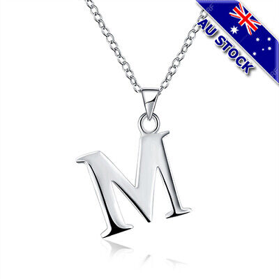 AU5.88 • Buy Sterling Silver Filled Letter M Personalised Pendant Chain Necklace Gift