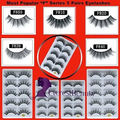 3D Mink False Eyelashes Wispy Cross Long Thick Soft Fake Eye Lashes 5 Pairs New • 3.98£