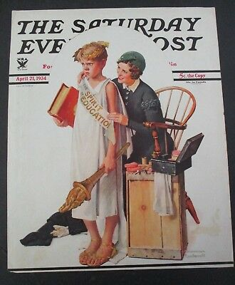 $ CDN26.01 • Buy Norman Rockwell April 21,1934 Saturday Evening Post Original COVER ONLY