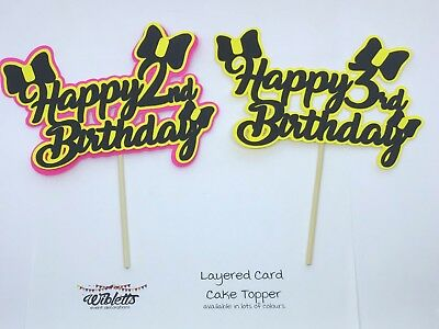 AU14.50 • Buy HAPPY 1st 2nd 3rd BIRTHDAY CARD CAKE TOPPER. EMMA WIGGLE THEME BOW PARTY YELLOW