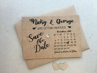 AU34.18 • Buy Personalised Wedding Save The Date Cards Magnet Envelopes Diamante Kraft KHD7901
