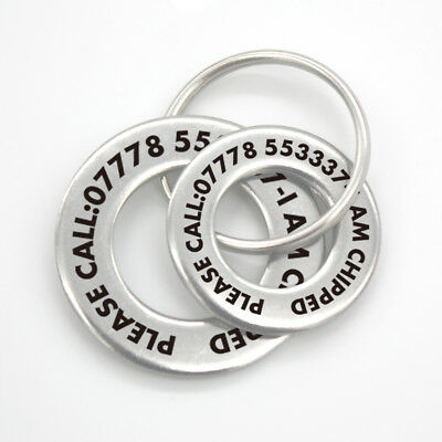 £5.99 • Buy Personalised Pet Disc Dog ID Tag Steel Washer Free Laser Engraved Ring Tags