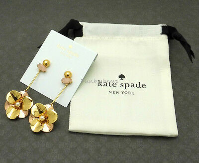$ CDN49.15 • Buy NWT Authentic Kate Spade Pick A Posy Linear Earrings Gold $78