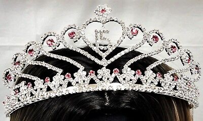 $ CDN24.98 • Buy Pink Sweet 15 Rhinestone Tiara Quince Quinceanera Crown With Charm C6247- Pink