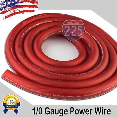 AU35.03 • Buy 25 Ft True 1/0 0 AWG Gauge Power Positive Wire Strand Cable 25' Red High Quality