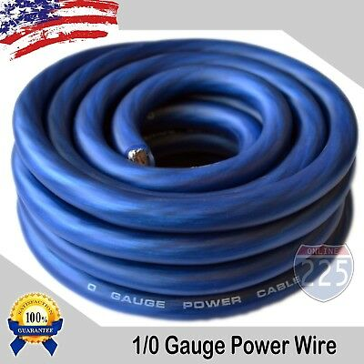 AU37.57 • Buy 25Ft True 1/0 0 AWG Gauge Power Ground Wire Strand Cable 25' BLUE Ultra Flexible