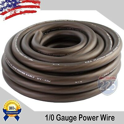 AU37.57 • Buy 25Ft True 1/0 0 AWG Gauge Power Positive Wire Strand Cable 25' BLACK HI-Quality