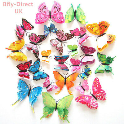 £3.29 • Buy 12 Pcs Magnetic Butterfly Wall Stickers Decal Home Decorations Decor Double Wing
