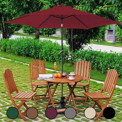 2.7M Garden Round Parasol Sun Shade Outdoor Patio Canopy Umbrella W/ Crank Tilt • 64.98£
