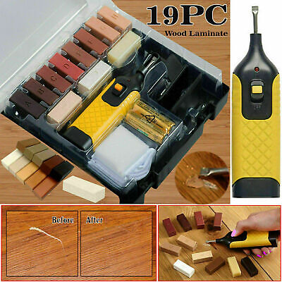 19pc Laminate Floor Worktop Furniture Repair Kit Wax System For Chips Scratches • 13.89£