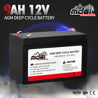 AU25.99 • Buy MOBI 9AH 12V AGM Deep Cycle Battery Camping Marine 4x4 4WD Solar Power Bank