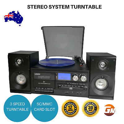 AU257 • Buy Stereo System Vinyl Record Player Turntable Dual Cassette Recorder W/USB CD MP3