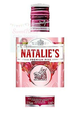 Pink Gordons Gin Bottle Label Edible Icing Personalised Cake Topper Decoration • 5.99£
