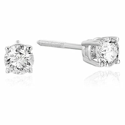 View Details 1/3 Cttw Certified Round Diamond Stud Earrings 14K White Gold With Screw-Backs • 129.99$