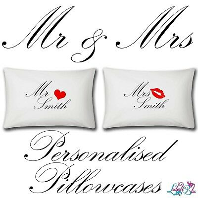 Personalised Mr And Mrs Pillow Cases | Two Items | Wedding Valentines Day Gifts • 14.99£